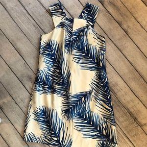 Tory Burch Women's Dress, Cream and Blue, Silk